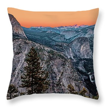 Halfdome And The Waterfalls At Sunset Throw Pillow