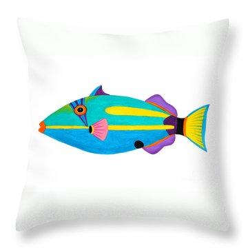 Halfmoon Triggerfish  Throw Pillow by Opas Chotiphantawanon