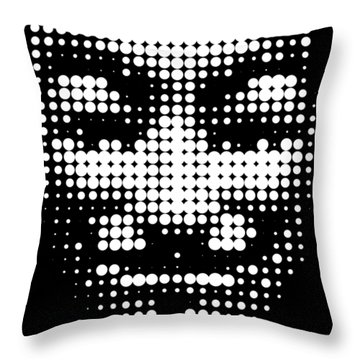 Halftone Anonymous Face  Throw Pillow