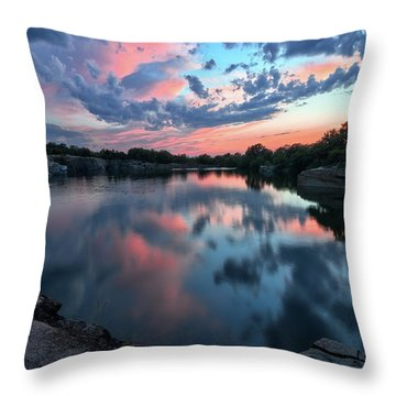 Throw Pillow featuring the photograph  Halibut Pt Quarry Reflection Rockport Ma by Michael Hubley
