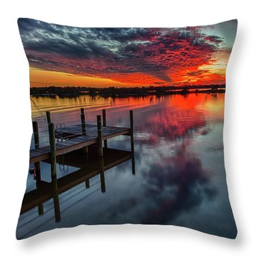 Halifax River Sunset Throw Pillow
