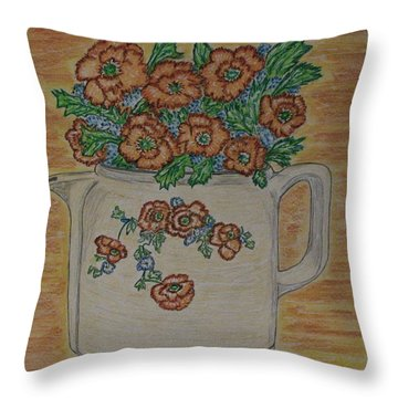 Throw Pillow featuring the painting Hall China Orange Poppy And Poppies by Kathy Marrs Chandler