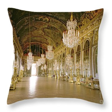 Hall Of Mirrors At The Chateau De Versailles Throw Pillow