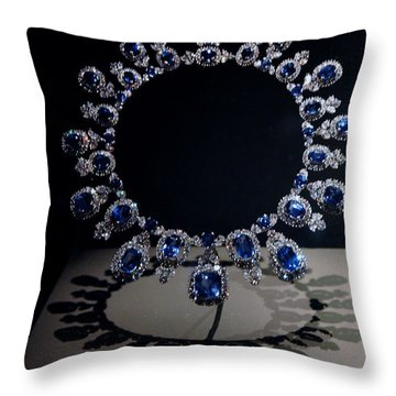 Hall Sapphire And Diamond Necklace Throw Pillow by LeeAnn McLaneGoetz McLaneGoetzStudioLLCcom