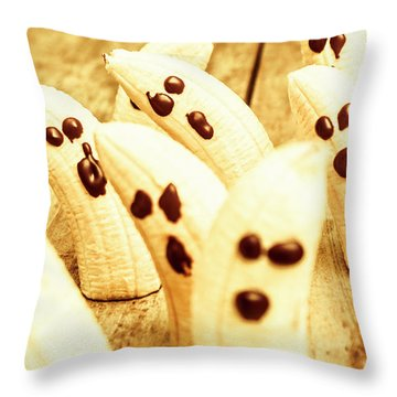 Halloween Banana Ghosts Throw Pillow