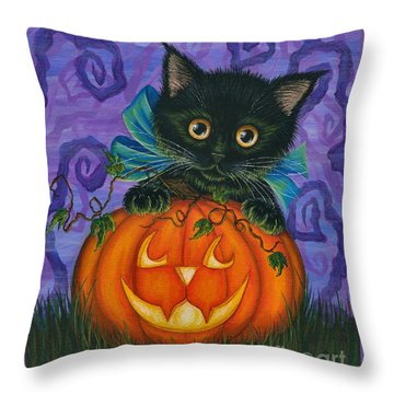 Throw Pillow featuring the painting Halloween Black Kitty - Cat And Jackolantern by Carrie Hawks