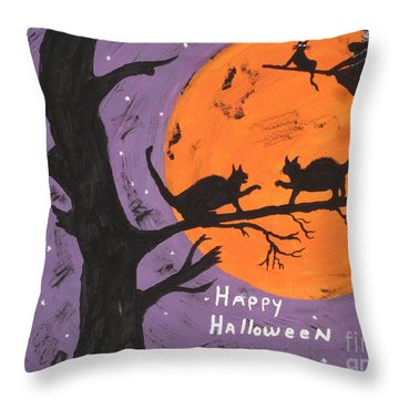 Halloween Cat Fight Throw Pillow by Jeffrey Koss