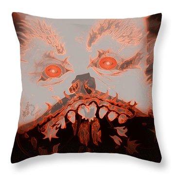 Halloween Devil Throw Pillow by Linda Galok