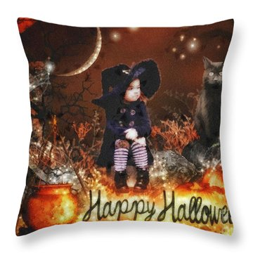 Halloween Girl Throw Pillow by Mo T