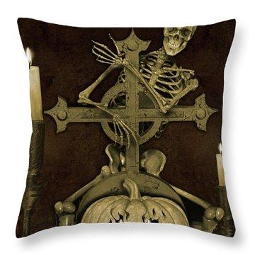 Halloween Graveyard-a Throw Pillow