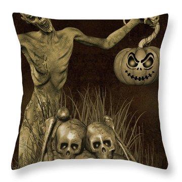 Halloween Graveyard-b Throw Pillow