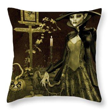 Halloween Graveyard-c Throw Pillow