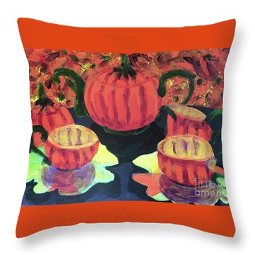 Throw Pillow featuring the painting Halloween Holidays by Donald J Ryker III