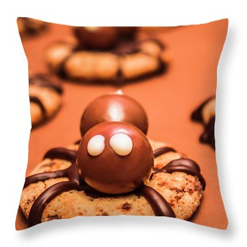 Halloween Homemade Cookie Spiders Throw Pillow
