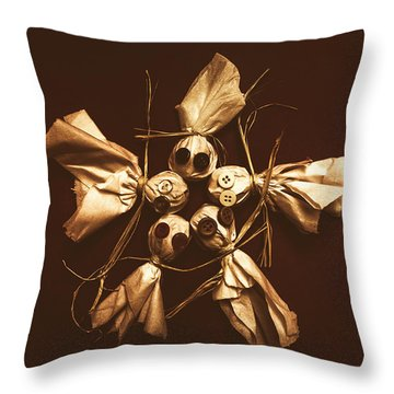 Halloween Horror Dolls On Dark Background Throw Pillow