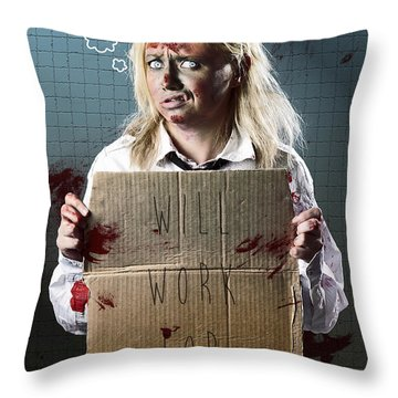 Halloween Horror Zombie With Unemployed Sign Throw Pillow