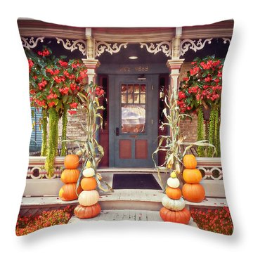 Halloween In A Small Town Throw Pillow by Mary Machare