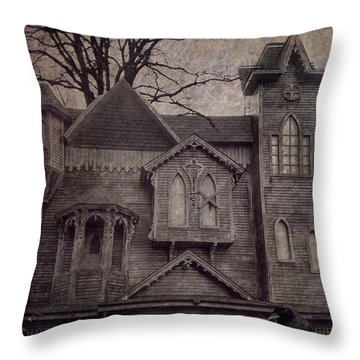 Halloween In Old Town Throw Pillow