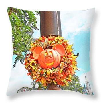 Halloween In Walt Disney World Throw Pillow