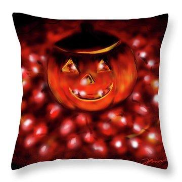 Halloween Lights Throw Pillow by Jean Pacheco Ravinski