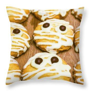 Halloween Little Monster Biscuits Throw Pillow
