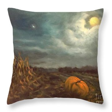 Halloween Mystery Under A Star And The Moon Throw Pillow