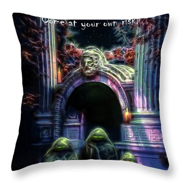 Halloween Party Invitation - The Gate Keeper Throw Pillow