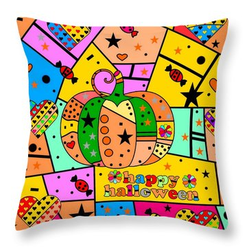 Halloween Popart By Nico Bielow Throw Pillow