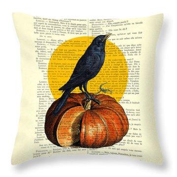 Halloween Pumpkin And Crow Decoration Throw Pillow