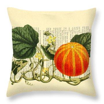 Halloween Pumpkin Antique Illustration Throw Pillow