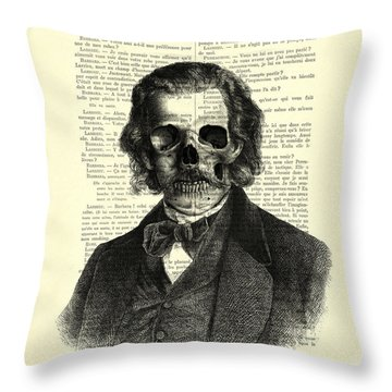Halloween Skull Portrait In Black And White Throw Pillow