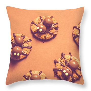 Halloween Spider Cookies On Brown Background Throw Pillow