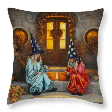 Throw Pillow featuring the painting Halloween Sweetness by Greg Olsen
