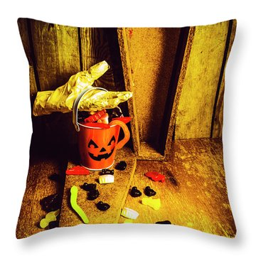 Halloween Trick Of Treats Background Throw Pillow
