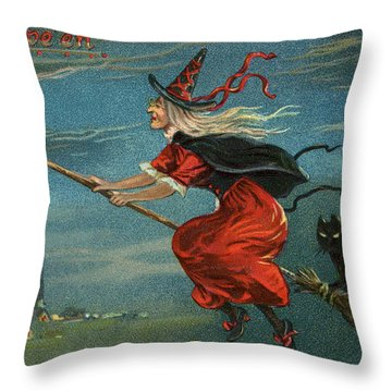 Halloween Witch And Black Cat Riding Broom At Night Throw Pillow