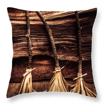 Halloween Witch Brooms Throw Pillow