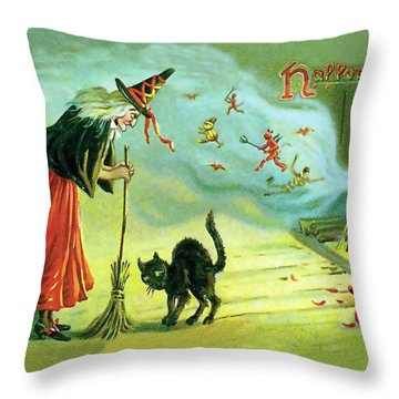 Halloween Witchcraft Throw Pillow