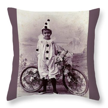Throw Pillow featuring the photograph Halloween Pierrot Boy With Antique Bicycle Circa 1890 by Peter Gumaer Ogden