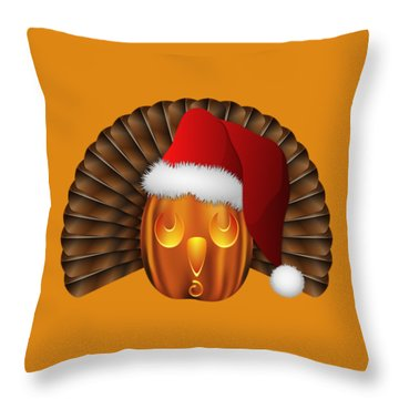 Hallowgivingmas Santa Turkey Pumpkin Throw Pillow