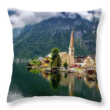 Hallstatt Across The Lake, Austria  Throw Pillow
