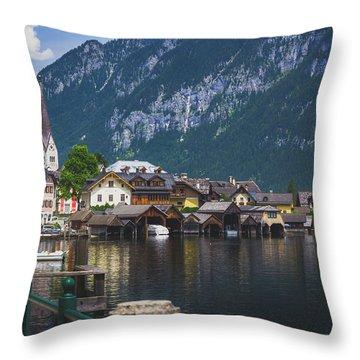Hallstatt Lakeside Village In Austria Throw Pillow