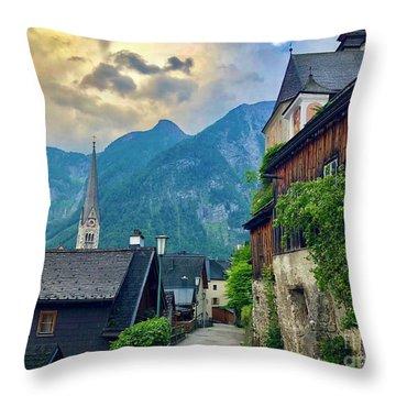 Hallstatt Village Stroll Throw Pillow
