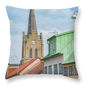 Throw Pillow featuring the photograph Halmstad Street Scene by Antony McAulay