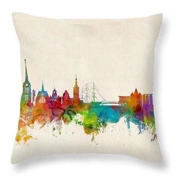Halmstad Sweden Skyline Throw Pillow