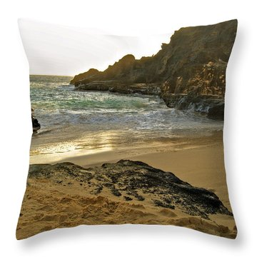 Halona Beach Cove Throw Pillow by Michael Peychich