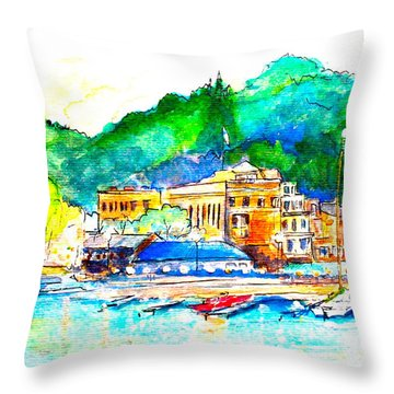 Halycon Days At The Blue Water Throw Pillow