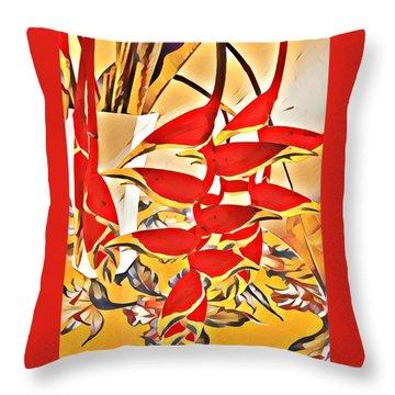 Halyconia Bouquet In Orange Throw Pillow