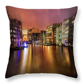 Throw Pillow featuring the photograph Hamburg By Night  by Carol Japp
