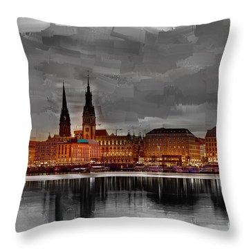 Hamburg Germany Skyline 01 Throw Pillow