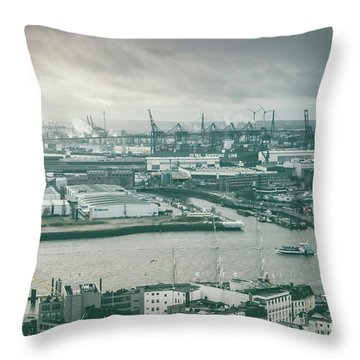 Hamburg Port  Throw Pillow